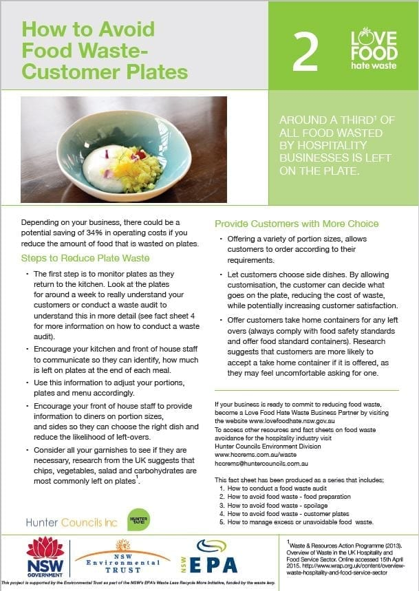 2015 LFHW - How to avoid food waste - Customer Plates